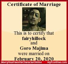 This is to certify that fairyhillock and Goro Majima were married on February 20, 2020