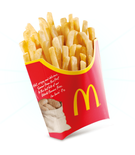 a carton of mcdonald's fries, from when they used to have the potato sacks on the packaging. divine light shines from behind it.