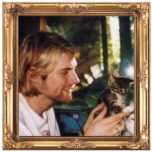 image of Kurt Cobain holding a kitten, the image is framed by a fancy gold frame