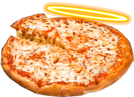 a greasy cheese pizza with one slice being lifted. a halo floats above the pizza