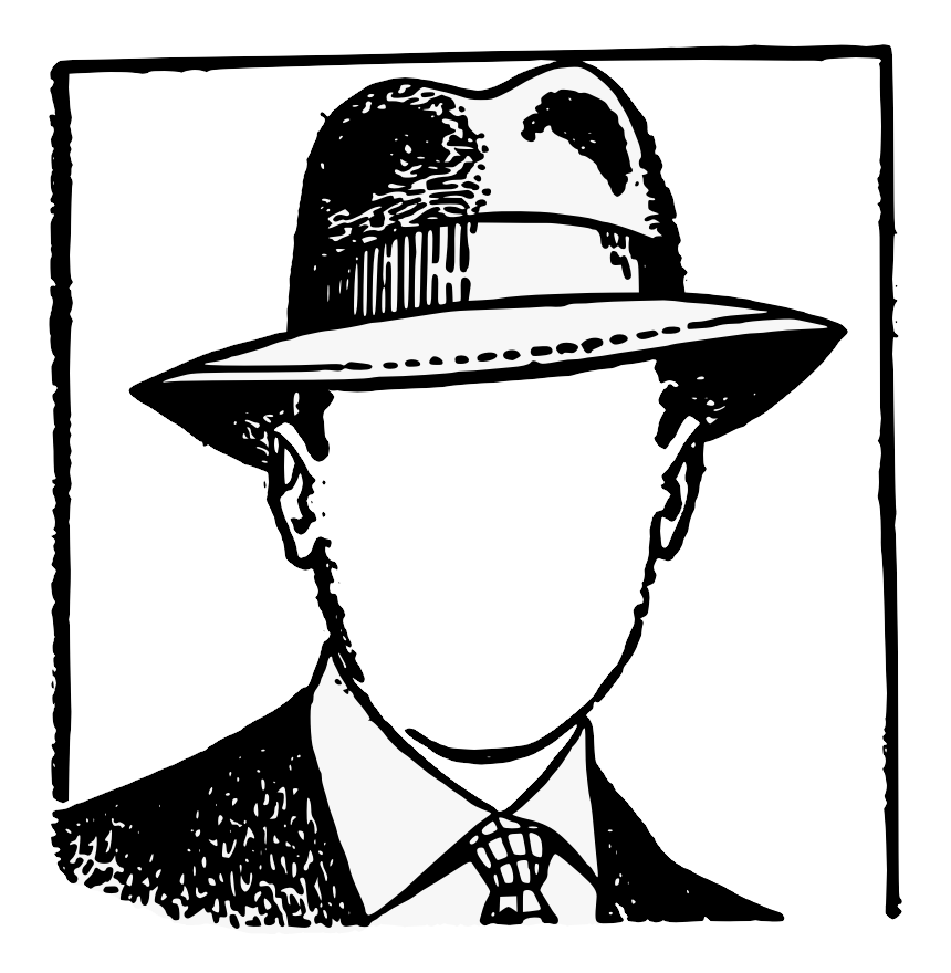 image of a person in a business suit and hat with no face